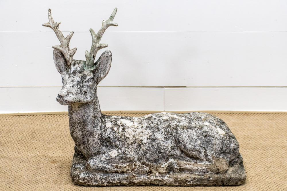 """19th C. French Concrete Deer 27 1/2""""H, 33"""" x 11"""""""