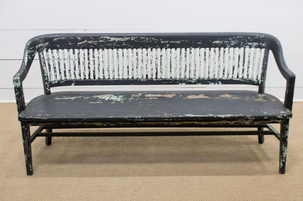 """Painted Country Store Bench 34""""H, 72 1/2"""" x 22 1/2"""""""