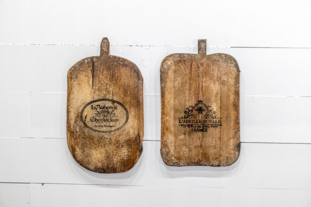 """2pc. Lot of Stenciled Cutting Boards 32 1/2"""" x 18 1/2"""" / 30"""" x 19"""""""