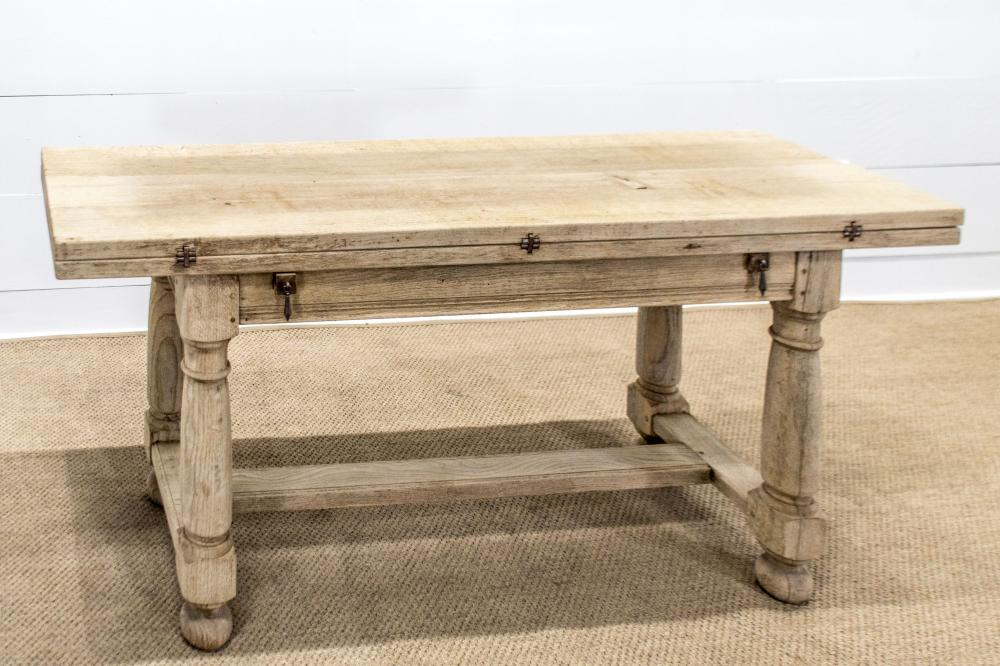 """French Bleached Flip Top Table 30""""H, 67"""" x 41"""" - (20 1/2"""" folded)"""