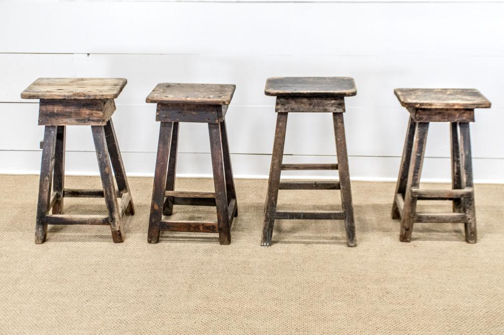 """4pc. Lot of Early Stools 27 1/2""""H / 26 1/2""""H / 28 1/2""""H / 29""""H"""
