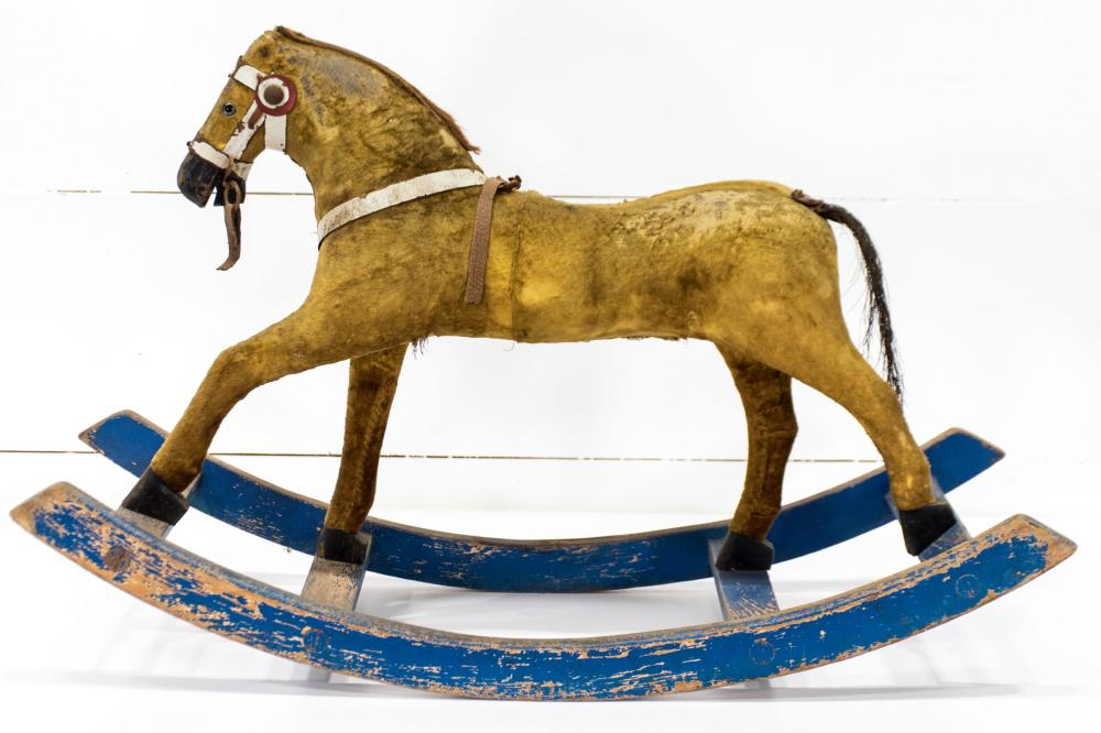 """Late 19th C. French Child's Toy Hobby Horse 21 1/2""""H, 34 1/2"""" x 12 1/2"""""""
