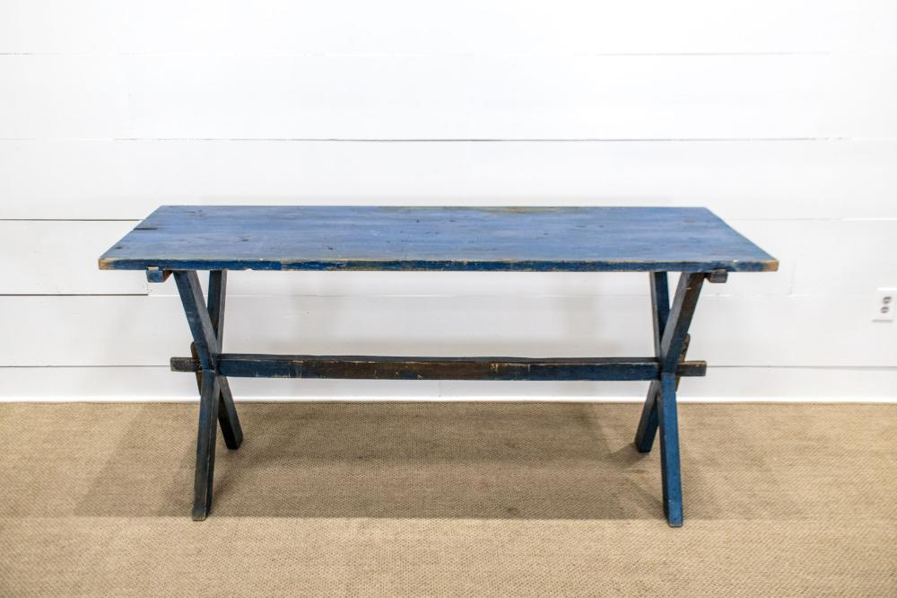 """Sawbuck Table in Old Blue Paint 33""""H, 72 1/2"""" x 28 1/2"""""""