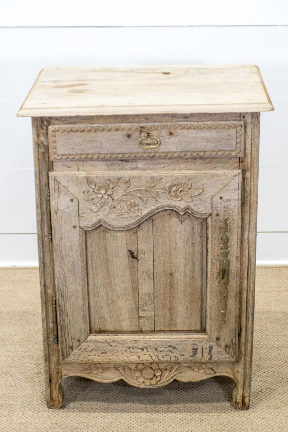 """19th C. French Bleached Confit Cabinet w/ Key 39""""H, 28 1/2"""" x 21"""""""