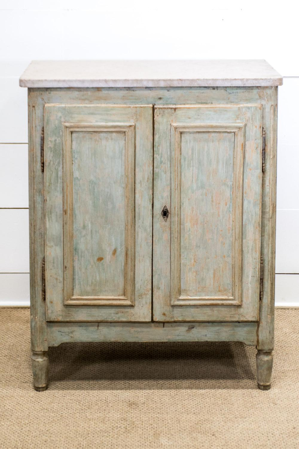 """19th C. French Painted Cupboard w/ Marble Top 45""""H, 36"""" x 19"""""""