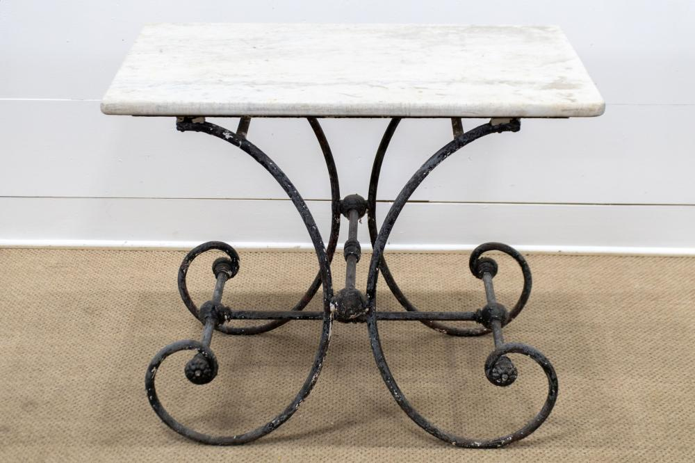 """19th C. French Marble Top Pastry Table 31""""H, 24"""" x 24"""""""