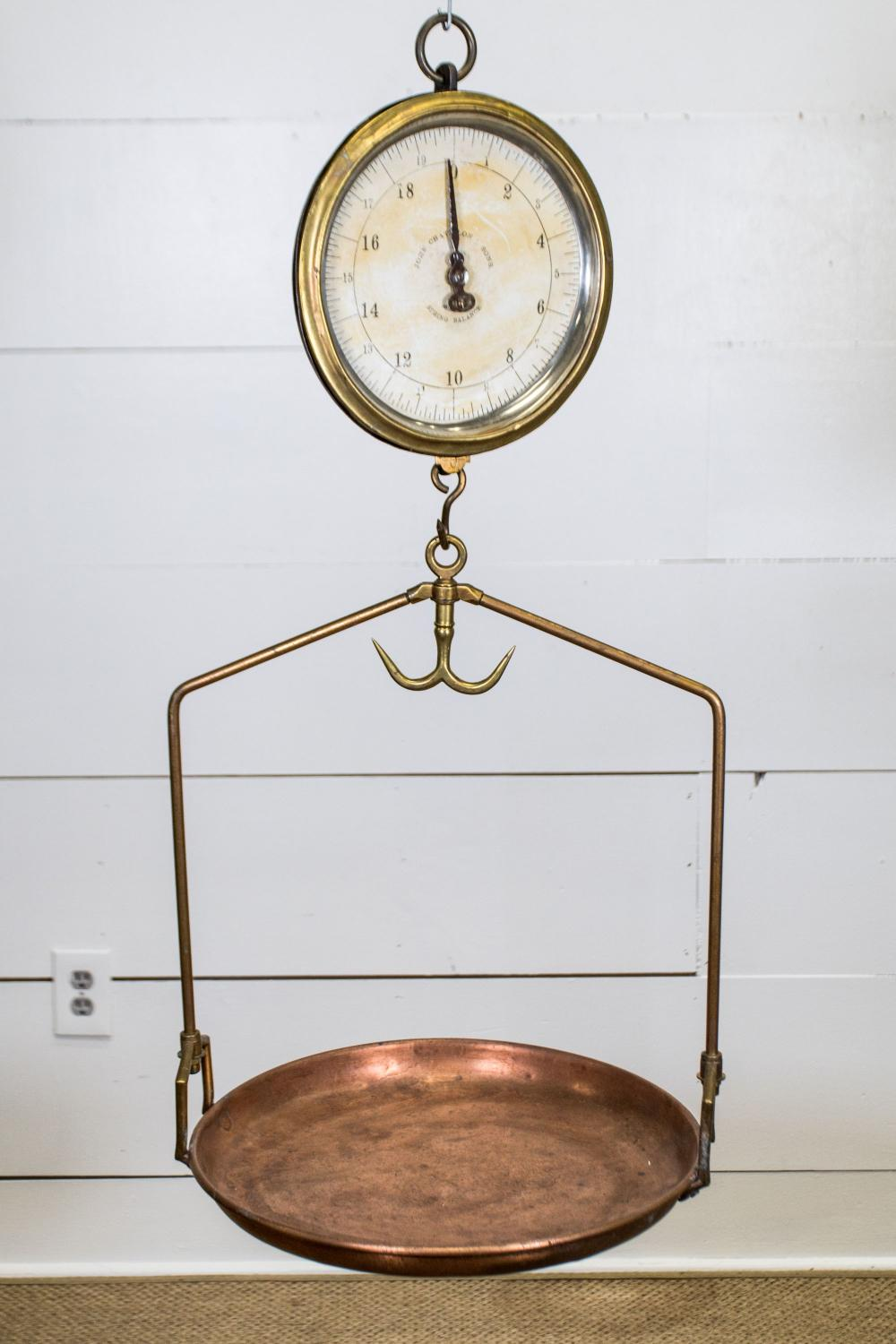 """General Store Copper Hanging Scale 35""""H, 16 1/2"""" x 15 1/2"""""""