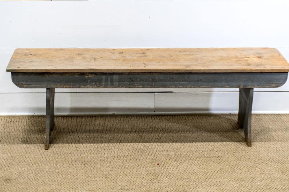 """Early Painted Pa. Bench 19""""H, 60"""" x 16"""""""
