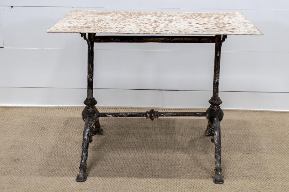"""French Arras Metal Top Bistro Table 30 1/2""""H, 39 1/2"""" x 27 1/2"""""""