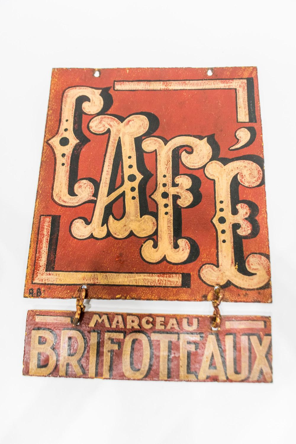 """French Cafe Sign - metal / double sided 22"""" x 15"""""""