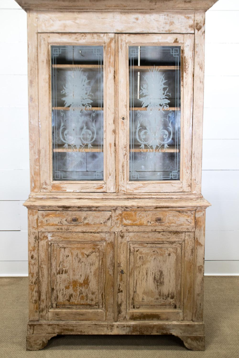 """19th C. French 2pc. Painted Cupboard 90 1/2""""H, 51"""" x 19 1/2"""""""