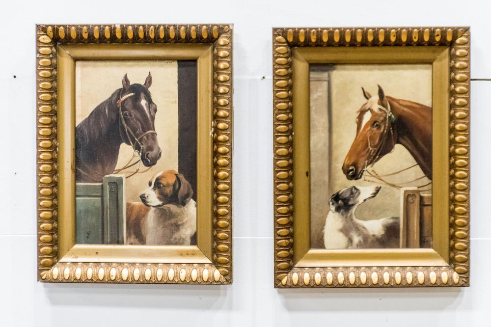 """2pc. Lot of Late 19th C. Paintings-Horse and Dog 18 1/2"""" x 14"""" ea."""