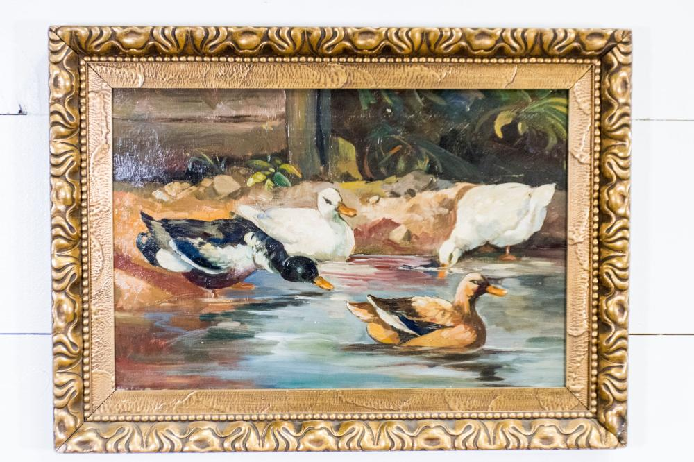 """19th C. Painting - Ducks at the Water Scene 22"""" x 30"""""""