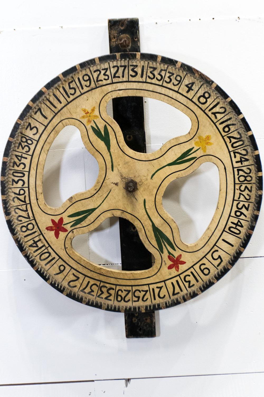 "Folky Game Wheel 30 1/2""H, 24"" diam."