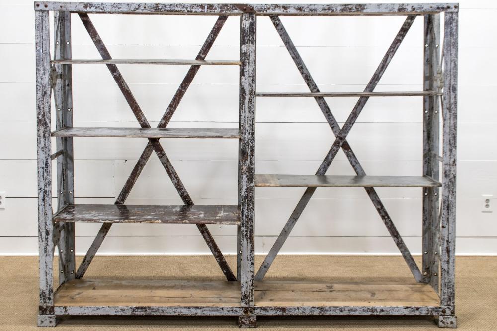 "French Industrial Iron Shelf Unit 72""H, 92"" x 14 1/2"""