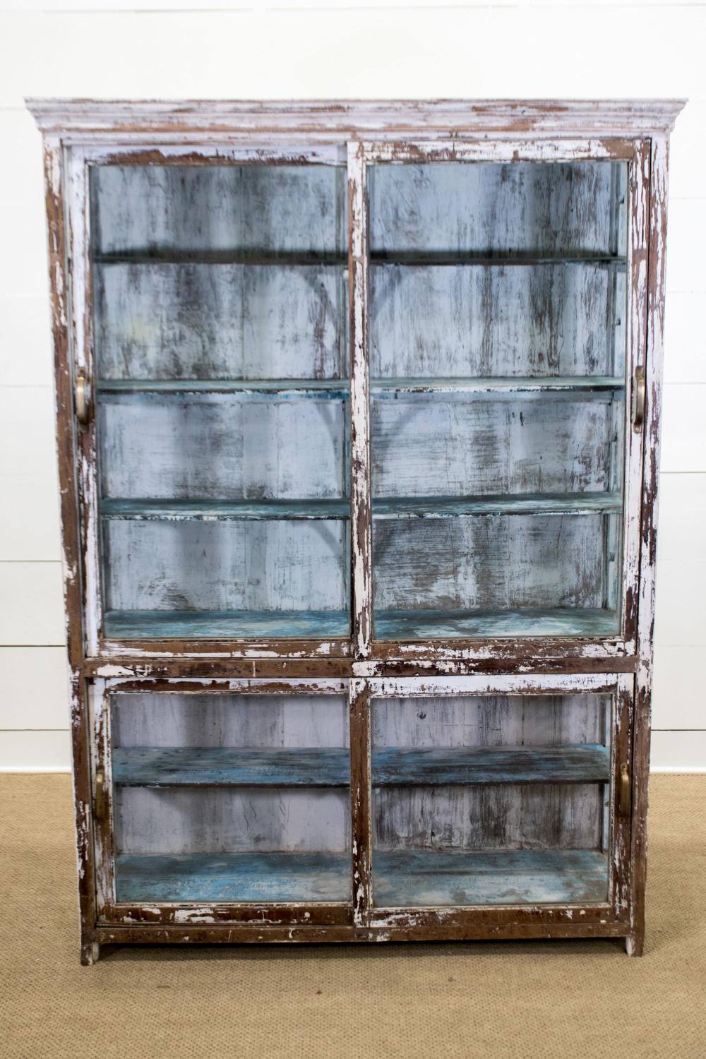 """Late 19th C. Painted Store Display w/ sliding doors 80""""H, 56 1/2"""" x 17 1/2"""""""