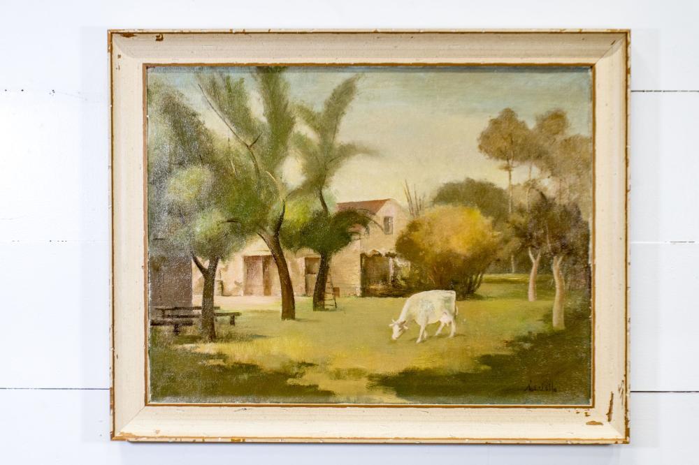"Oil on Canvas - Cow in Pasture Scene 30 1/2"" x 38 1/2"""