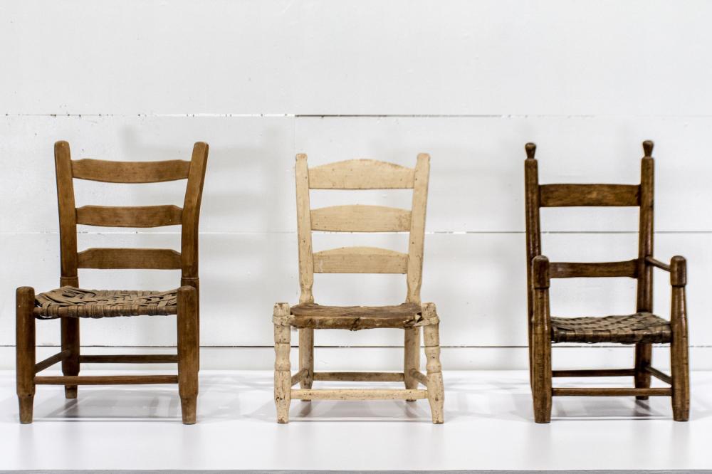 "3pc. Lot of Early Texas Child's Chairs 22 1/2""H, 13"" x 11"" / 22""H, 14"" x 13"" / 23""H, 15"" x 14 1/2"""