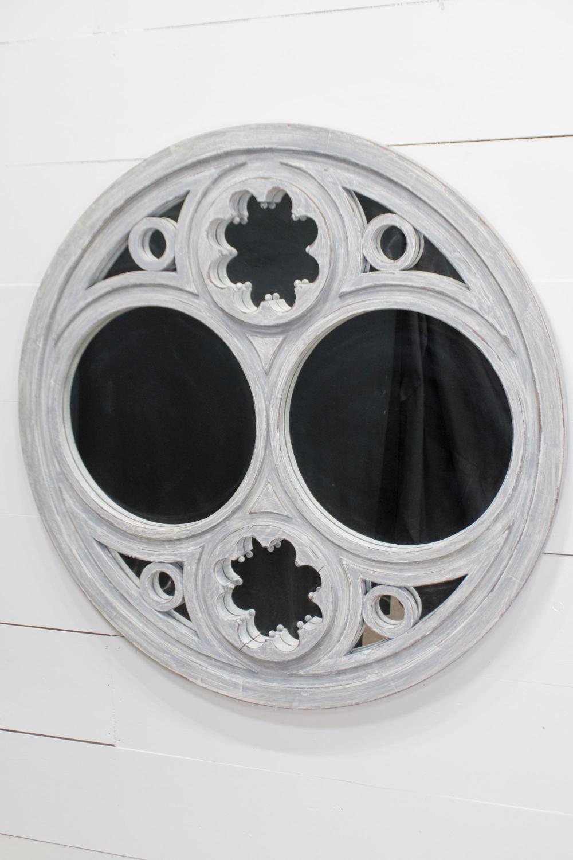 "Vintage French Round Painted Mirror 52"" diam."