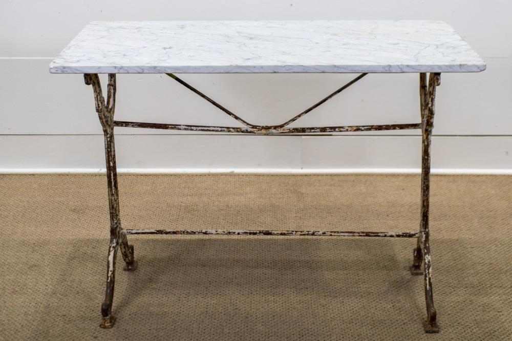 """French Marble Top Bistro Table 27 1/2""""H, 39"""" x 22 1/2"""""""
