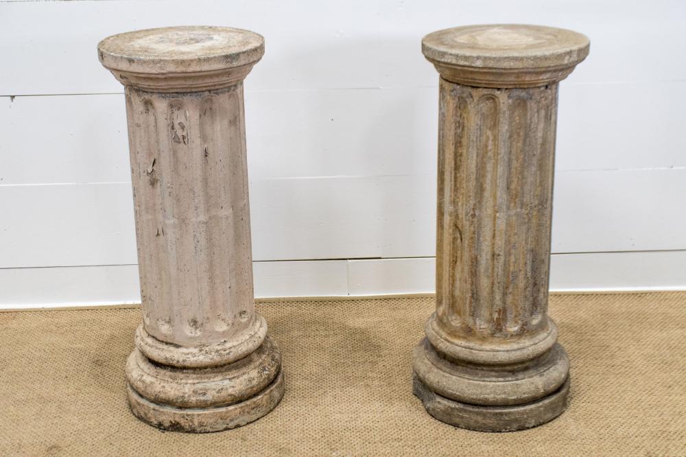 """French Concrete Garden Column X-2 39 1/2""""H, 16"""" diam. ea."""