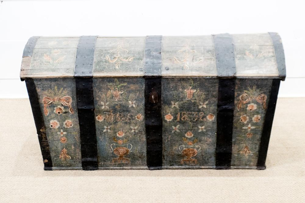 """Early 19th C. Swedish Painted Immigrant's Trunk 27""""H, 55"""" x 25"""""""