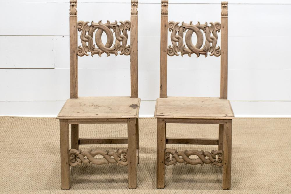 """Pair of Vintage Italian Tuscan Chairs 45""""H, 20"""" x 19"""" ea."""