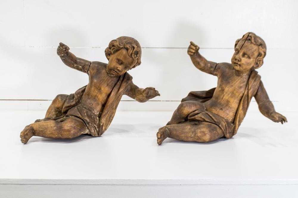 """Carved Wooden Putti X-2 19""""H, 21"""" x 12"""" / 18""""H, 22 1/2"""" x 12 1/2"""""""