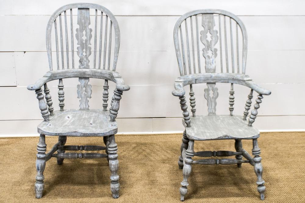 """Pair of English Splat Back Broad arm Oak Chairs w/ later paint 44 1/2""""H, 26 1/2"""" x 25 1/2"""" / 46""""H, 23 1/2"""" x 25 1/2"""""""