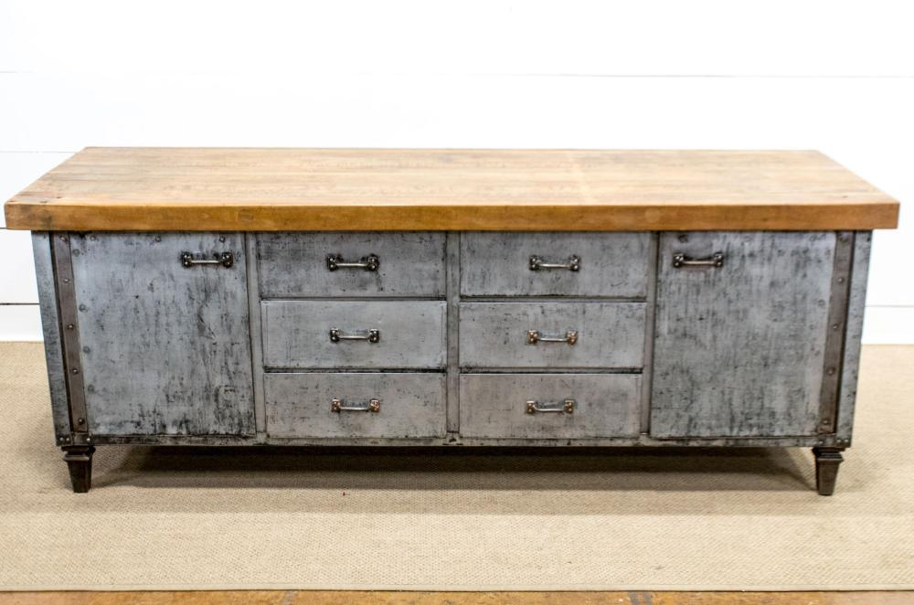 """Industrial Meat Market Work Counter 34""""H, 90"""" x 30"""""""