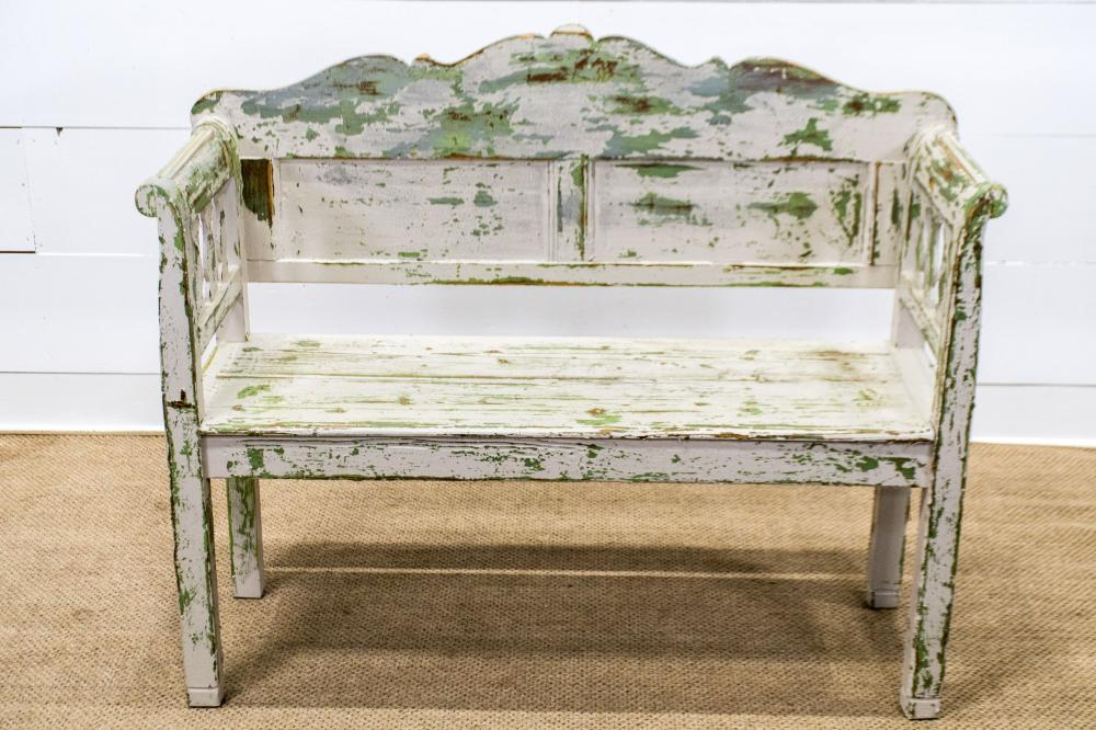 """Painted Cottage Bench 42 1/2""""H, 51 1/2"""" x 18"""""""