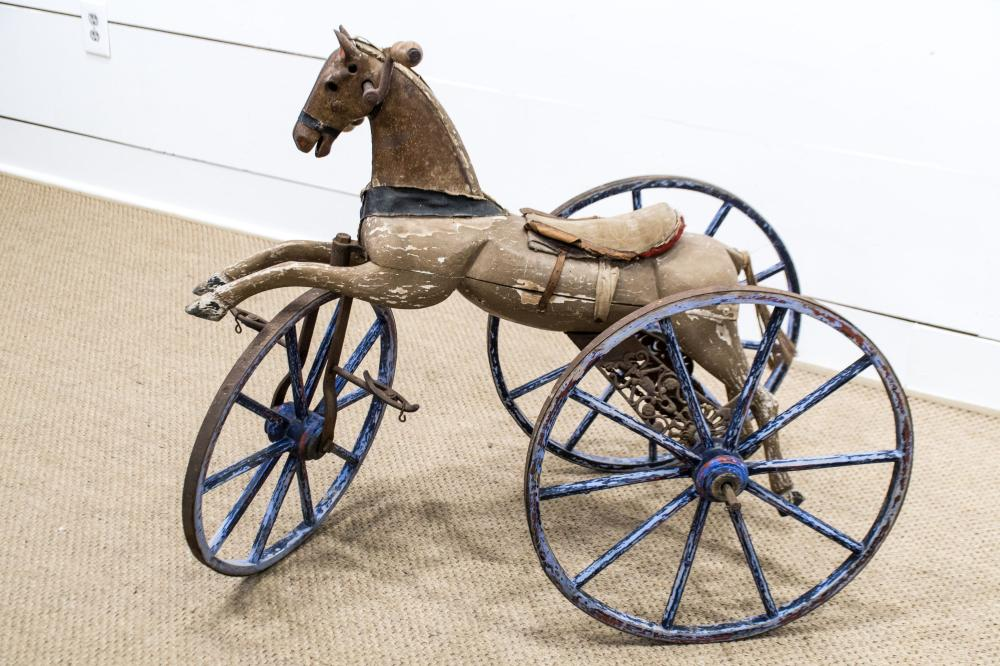 """19th C. Child's Horse Tricycle 31 1/2""""H, 39"""" x 22"""""""