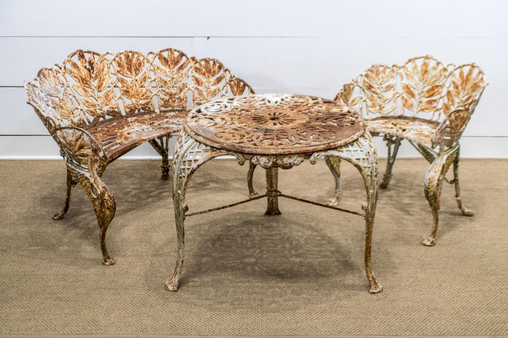 """3pc. Cast Iron Garden Set chair, bench, table table - 26""""H, 34"""" x 34"""" / chair - 28 1/2""""H, 26 1/2"""" x 22"""" bench - 30""""H, 44"""" x 30 1/2"""""""