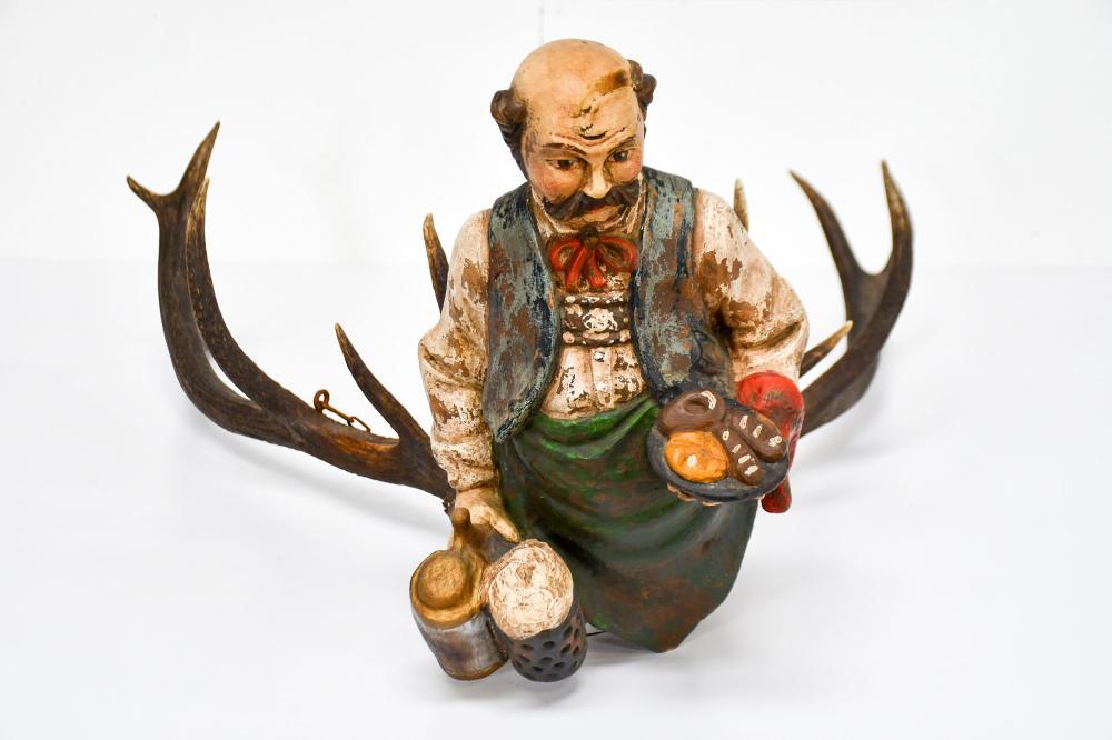 "Carved Black Forest Beer Man Antler Fixture circa 1900 16""H, 26 1/2"" x 29 1/2"""