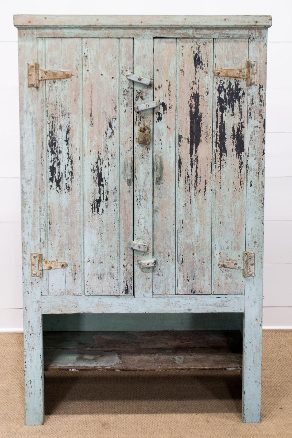 """French Painted Two Door Farmhouse Cupboard 76""""H, 45 1/2"""" x 17"""""""