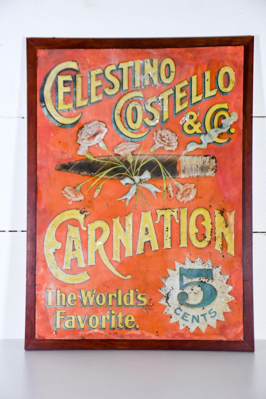 "Celestino Costello & Co. Cigar Sign - metal 30"" x 22"""