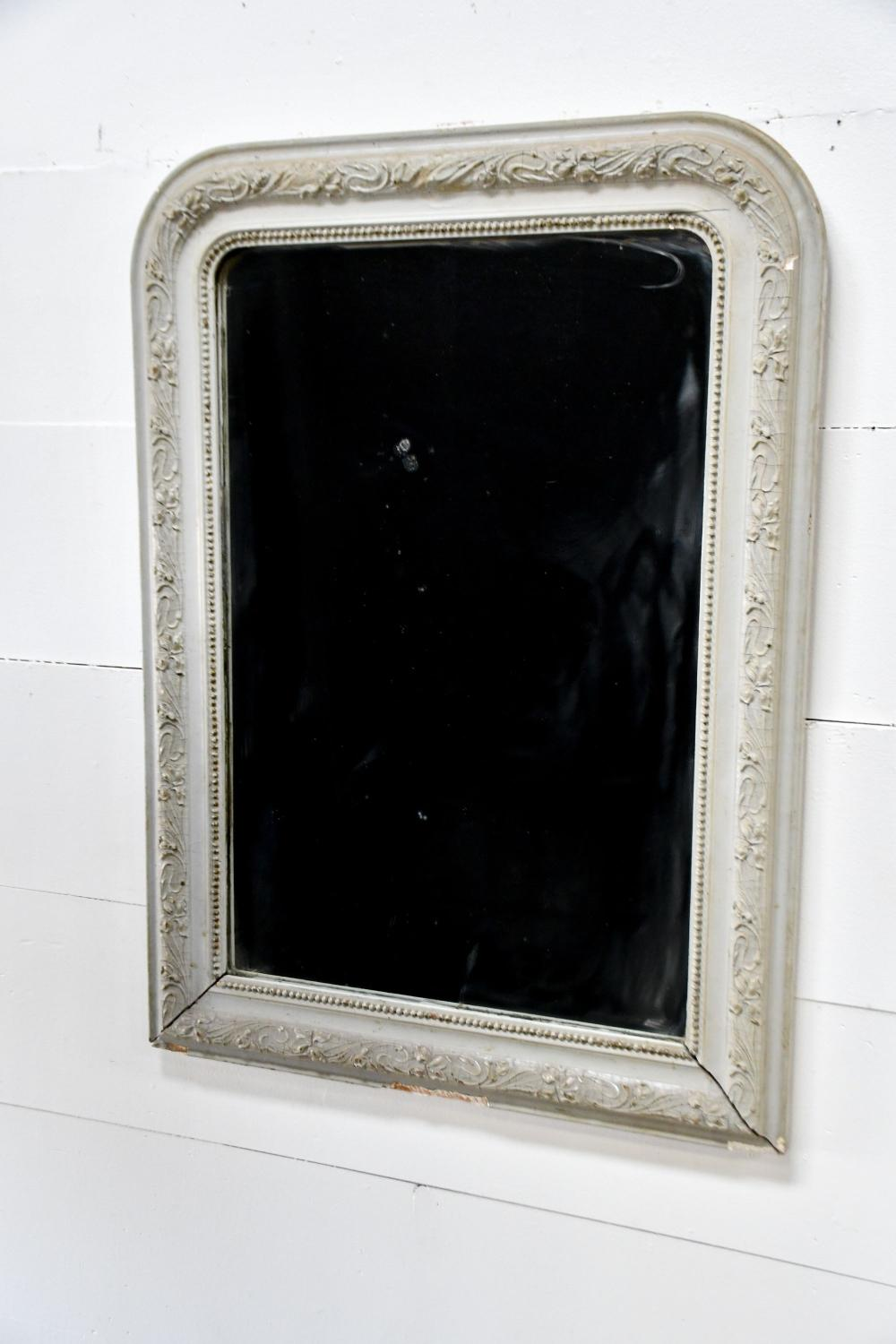 """19th C. French Painted Mirror 41 1/2"""" x 30"""""""