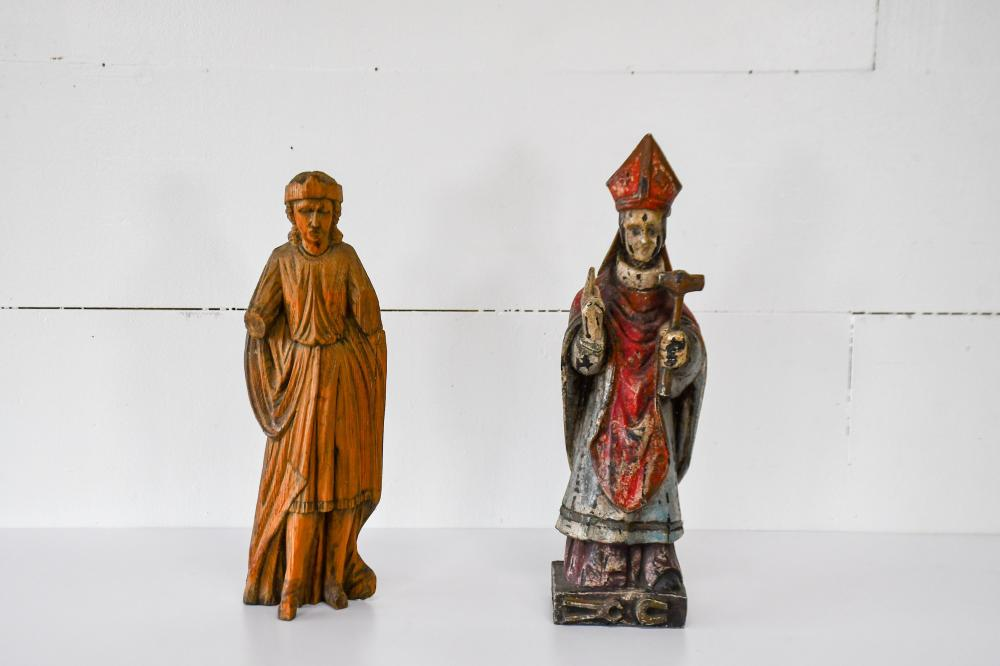 """2pc. Lot of Late 18th C. Religious Statues 20""""H / 18 1/2""""H"""