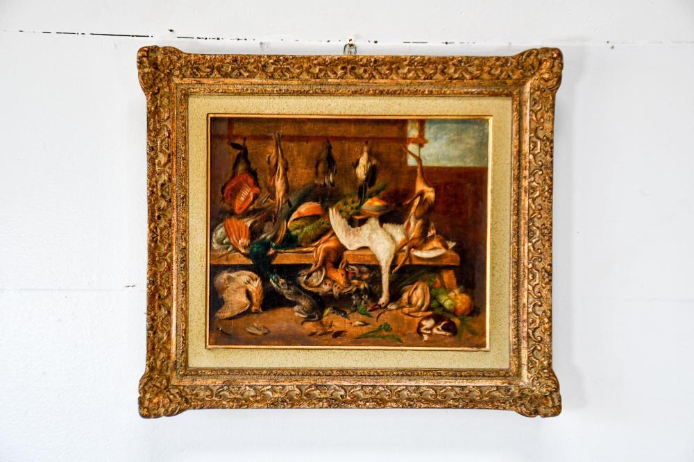 "19th C. Oil on Wood - Dead Game Scene 16"" x 18 1/2"""