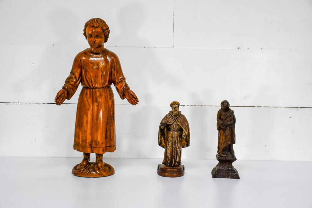 """3pc. Lot of 19th C. Italian Religious Statues 27""""H / 13""""H / 13 1/2""""H"""