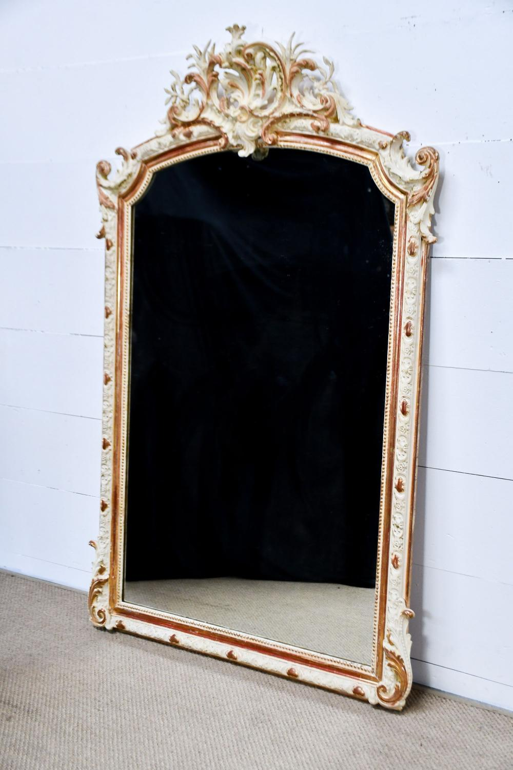 """Late 19th C. French Louis Philippe Painted Mirror 72"""" x 46"""""""