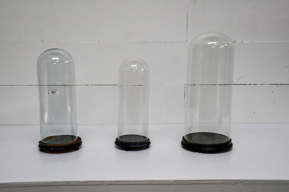 """3pc. Lot of Glass Domes w/ Bases 25""""H, 11"""" diam. / 19 1/2""""H, 8"""" diam. / 21""""H, 9"""" diam."""