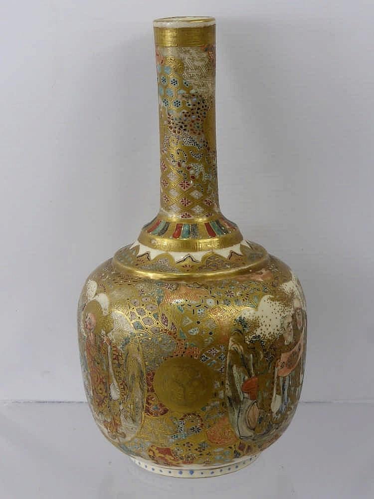 An antique japanese satsuma vase depicting philos for Asian antiques uk