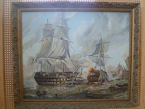A LARGE ORIGINAL OIL ON BOARD DEPICTING A