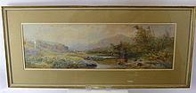 William Widgery (1826-1893) British, a watercolour depicting a Moorland river landscape, with sheep