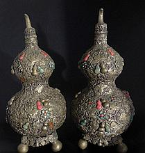 Pair of Chinese Antique Double Gourd Repoussé