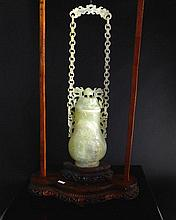 Chinese Qing Dynasty Pale Celadon Suspended Jade