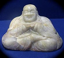 Chinese Antique Celadon Jade Figure of a Seated