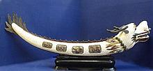 Antique Chinese Impressive Carved Wood and Ivory