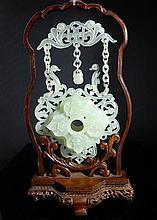 Chinese circa 20th Century Jade Suspended Vase,